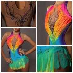 Gymnastics Competition Leotards, Gymnastics Suits, Acrobatic Gymnastics, Rhythmic Gymnastics Leotards, Dance Outfits, Dance Dresses, Rainbow Costumes, Ice Skating Dresses, Rainbow Fashion