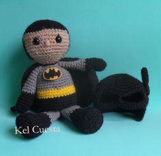 Batman em crochê com mascara removivel #batman #ligadajustiça #amigurumi