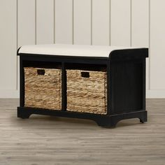Sit back and kick off your shoes with this mudroom essential. the deepwater storage entryway bench is both attractive and versatile, featuring a dark pine frame and a comfy upholstered seat. the woven baskets underneath can store anything from shoes to extra towels.
