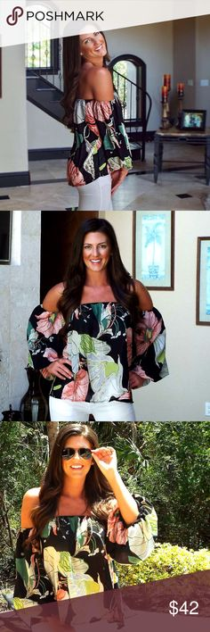 Off the shoulder top with puffy attached sleeves Our Santa Pasqual Sunset Top is the perfectly sultry boho top for your next outing! The natural hues in this Botanical Off The Shoulder Top create a warm and sweet feel for spring!  This top is black, with gorgeous shades of teal, rose pink and a rich beautiful green. It also features an off the shoulder silhouette,  & has an elastic stretch just around the chest area for a comfortable fit & feel and is accented with puffy sleeves.   Runs true…