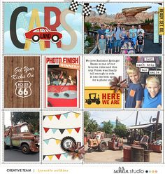 Disney's Carsland digital pocket scrapbooking page using Project Mouse (Cars) by Britt-ish Designs and Sahlin Studio