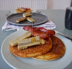 Low carb pancakes made with almond flour for Shrove Tuesday. Delicious with bacon and banana!