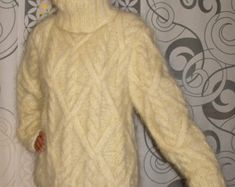 Cable Hand Knitted Mohair Sweater NEON Yellow color Fuzzy