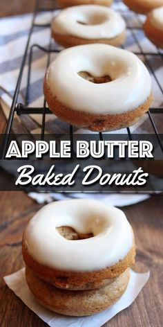 These Baked Apple Butter Donuts with Maple Glaze are so easy to make and full of Fall's flavor, from the apple butter in the batter to the maple syrup in the glaze. They will be perfect for breakfast or a midday snack. Homemade Baked Donuts, Baked Donut Recipes, Baked Doughnuts, Baking Recipes, Baked Buttermilk Donuts Recipe, Cake Donut Recipe Baked, Vegan Donut Recipe, Just Desserts, Dessert Recipes
