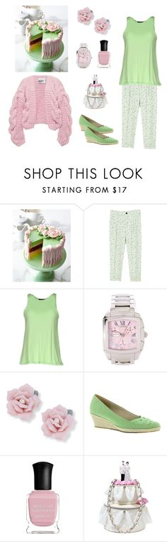 """Baked Confection Ensemble (contest entry)"" by scolab ❤ liked on Polyvore featuring Sweet Lady Jane, MANGO, Fisico, Mauboussin, Palm Beach Jewelry, Beacon, Deborah Lippmann and Betsey Johnson"