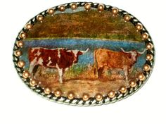 Belt buckle with Vintage Postcard Of Longhorn Cattle by gogogail, $32.00