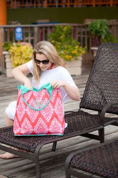 Coral Cove Beach Bag Monogrammed | The Preppy Pair