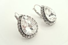 Art deco clear crystal rhinestone tibetan silver teardrop by xxyz, $30.00
