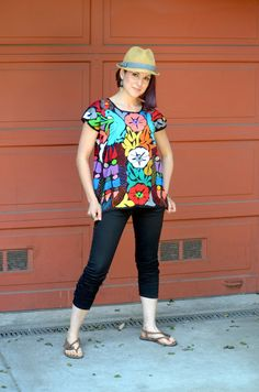 Vibrant Multicolor Mexican Embroidered Blouse / by Vtgantiques