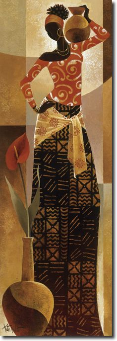 African Art by Keith Mallett . Afrique Art, African Paintings, Black Artwork, Afro Art, African American Art, Black Women Art, Stretched Canvas Prints, Love Art, Female Art