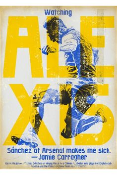 zoran Lucic Alexis Sanchez art print, Vintage Football Art Poster