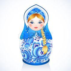 poupee russe: Bleu poupée russe traditionnel vecteur peinte dans le style Gjel Illustration