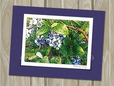 Blueberry Picking  - blank note card by Awfully Nice Designs.