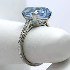 Raymond Yard Art Deco Platinum 3.97tcw Aquamarine & Diamond Ring from asemetals on Ruby Lane