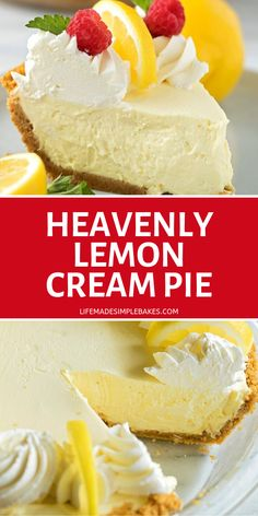 Creamy, silky, heavenly lemon cream pie. This no-bake treat is absolutely dreamy. It's perfect for spring celebrations or summer BBQs. #pie #lemoncreampie