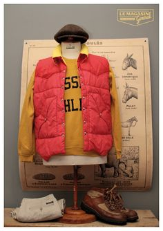 Harris Tweed x Russel Athletic x Down Jacket x vintage  (c) http://www.le-magasin-general.com/