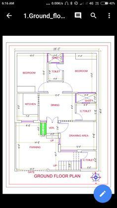 5 Marla House Plan, 2bhk House Plan, Open Floor House Plans, Model House Plan, Simple House Plans, House Layout Plans, Apartment Floor Plans, Bungalow House Design, House Front Design