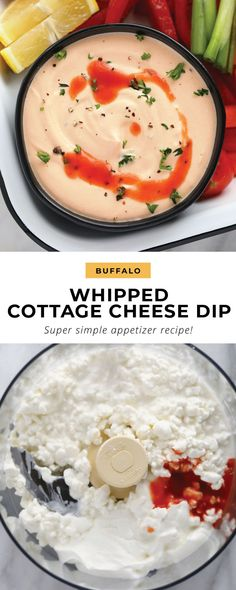 Cottage Cheese Recipes, Cheese Dip Recipes, Cheese Appetizers, Easy Appetizer Recipes, Whipped Cottage Cheese Recipe, Snack Recipes, Keto Recipes, Best Food Processor, Cuisinart Food Processor