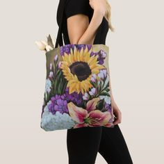 """""""Late Summer Bouquet"""" Floral Tote Bag 