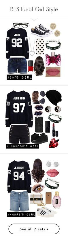 """BTS Ideal Girl Style"" by babywolf-530 ❤ liked on Polyvore featuring beauty, VILA, Converse, Viktor & Rolf, She's So, Kate Spade, NARS Cosmetics, Chloé, BaubleBar and Accessorize"