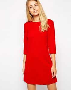Enlarge ASOS Shift Dress in Textured Rib with 3/4 Length Sleeves