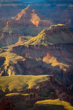 dappled light on Isis Temple, Cheops Pyramid and Palteau Point in the Grand Canyon, Arizona