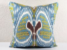 Hand Woven Ikat Pillow Cover  A541-1aa3 by BlackFigDesigns on Etsy