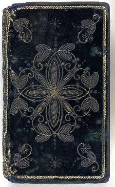 A Comfortable Treatise for the reliefe of such as are afflicted in Conscience. embroidered velvet book cover, interlaced, and enlarged in many places. (London, Collection: The British Library ~via Aria Nadii, book cover book covering cover Vintage Book Covers, Vintage Books, Old Books, Antique Books, Textiles, Beautiful Book Covers, Gold Work, Book Binding, Altered Books