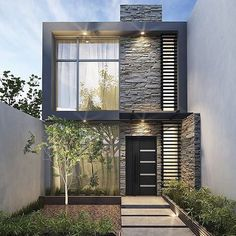 Super Home Design Ideas Exterior Real Estates Ideas Narrow House Designs, Modern Small House Design, Modern Minimalist House, Bungalow House Design, House Front Design, Tiny House Design, Small Modern House Exterior, Modern House Facades, Modern House Plans