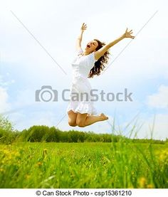 Stock Photo - Happy Young Woman Jumping over blue sky. Beauty Girl Having Fun - stock image, images, royalty free photo, stock photos, stock photograph, stock photographs, picture, pictures, graphic, graphics