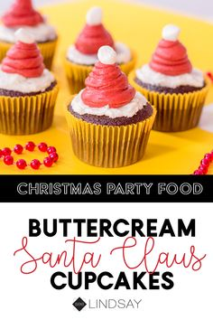 Santa Claus cupcakes for your next Christmas party. These cupcakes are the perfect Christmas party food for your next holiday party. Make your own Santa cupcakes out of buttercream and they're even more delicious. Santa Cupcakes, Christmas Cupcakes, Christmas Desserts, Christmas Holidays, Christmas Recipes, Happy Holidays, Christmas Ideas, Party Ideas, Diy Ideas