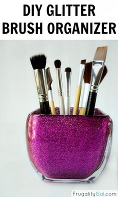 DIY Glitter makeup brush holder tutorial. Super easy and inexpensive project!