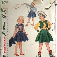 Vintage 1950s Girls Western Outfit Pattern Shirt Skirt And Bolero SImplicity 3026 Sz 6 UNCUT