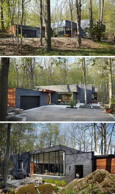 18 Modern Houses In The Forest | The contrast between the black brick and wood panels on this forest home make it stand out in the lush forest around it.