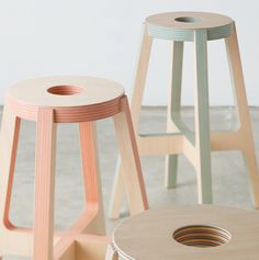 Paperwood: ecologically-sensitive plywood was developed, in part, by Drill Design.  Here is some proto furniture made from the material.