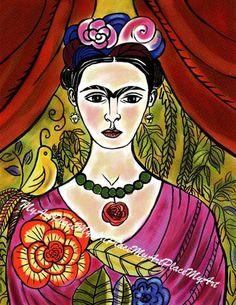 "Frida Kahlo Art, Postcards, Art Prints, Frida Kahlo Painting, ""La Flor de Coyoacan,""  Mexican Folk Art, Mexico, Frida Portrait, Latin Art"