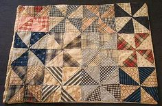 Early 1900's Hand-Crafted PINWHEEL Pattern Doll Quilt.