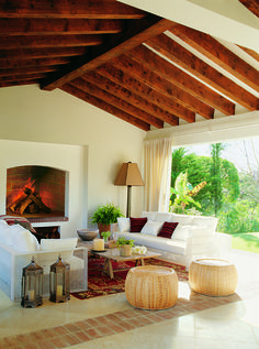 beautiful ceiling and fireplace