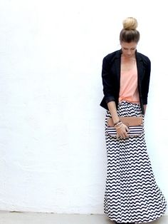 Long patterned skirt with peach top and blazer!