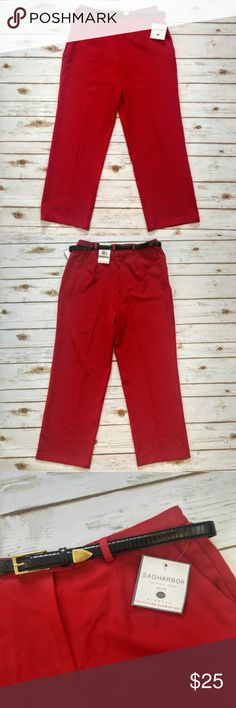 """Sag Harbor Belted Red Dress Pants Sag Harbor Belted Red Dress Pants  Size 12 Petite brand new with tags. 16"""" waist 29"""" inseam. Please let me know if you have any questions. I ship the same day as long as the post office is still open. Have a great day, thanks for checking out my closet and happy poshing! Sag Harbor Pants Straight Leg"""