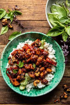 Thai Basil Sesame Cashew Chicken with Coconut Rice | halfbakedharvest.com