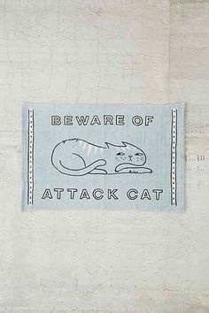 Plum & Bow Beware Of Cat Rug - $24 from Urban Outfitters --- blue. white. home décor. rug. mat. cat lover. meow. house. inspiration. cute