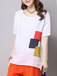 Buy Round Neck Color Block Patch Short Sleeve T-Shirt online with cheap prices and discover fashion T-shirts & Blouses,T-shirts,Short sleeve T-shirts,T-shirts,Tops,Shirts & Blouses,Blouses,Women,Fashion,Women Shirts,Women Blouses,Fashion Blouses,Cheap T-Shirts at Loverchic.com.