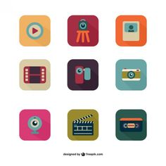 Colorful multimedia icon pack Free Vector