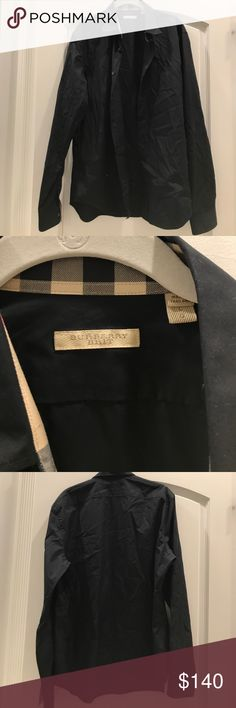 Burberry shirt Navy Blue size Large Mint condition only worn once Burberry Shirts Dress Shirts