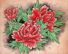 Botan In Three by Clark North Japanese Peony Tattoo Canvas Art Print