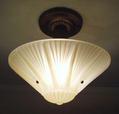Rewired Antique 1930s Vintage Gold Art Deco Glass Ceiling Light Fixture   eBay
