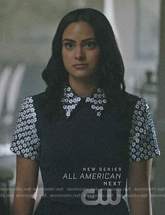 5bffc797e85 Veronica s navy top with white floral sequin collar and sleeves on Riverdale.  Outfit Details  WornOnTV