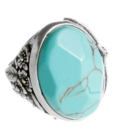 Lucky Brand Ring, Large Reconstituted Turquoise Ring