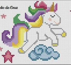 This Pin was discovered by Ste Unicorn Cross Stitch Pattern, Crochet Snowflake Pattern, Cross Stitch Baby, Cross Stitch Animals, Modern Cross Stitch, Cross Stitch Designs, Cross Stitch Patterns, Pixel Crochet, Crochet Chart